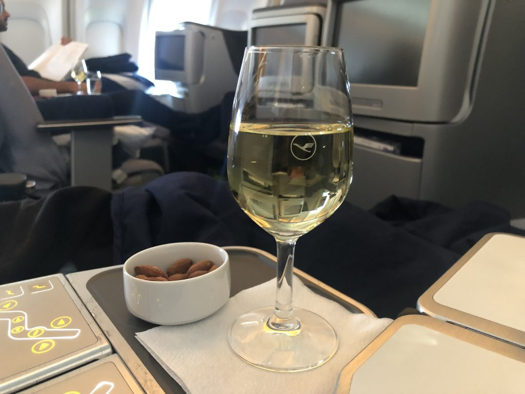 Lufthansa Business Class Food Wine and Nuts