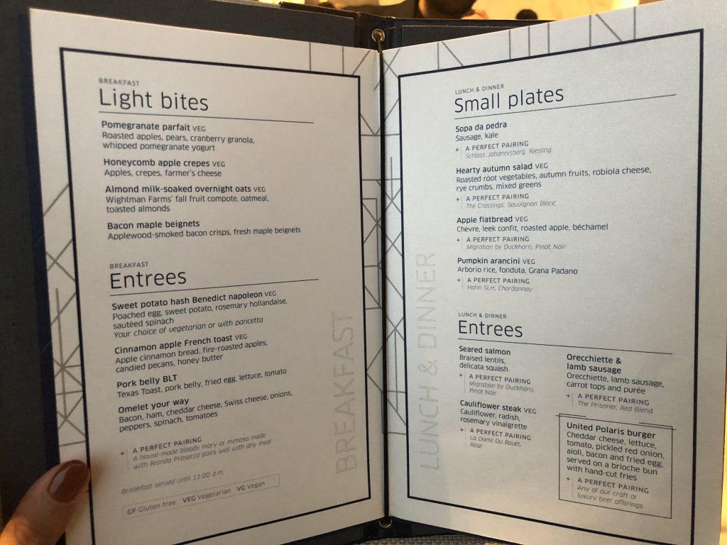 United Polaris Lounge Food Menu
