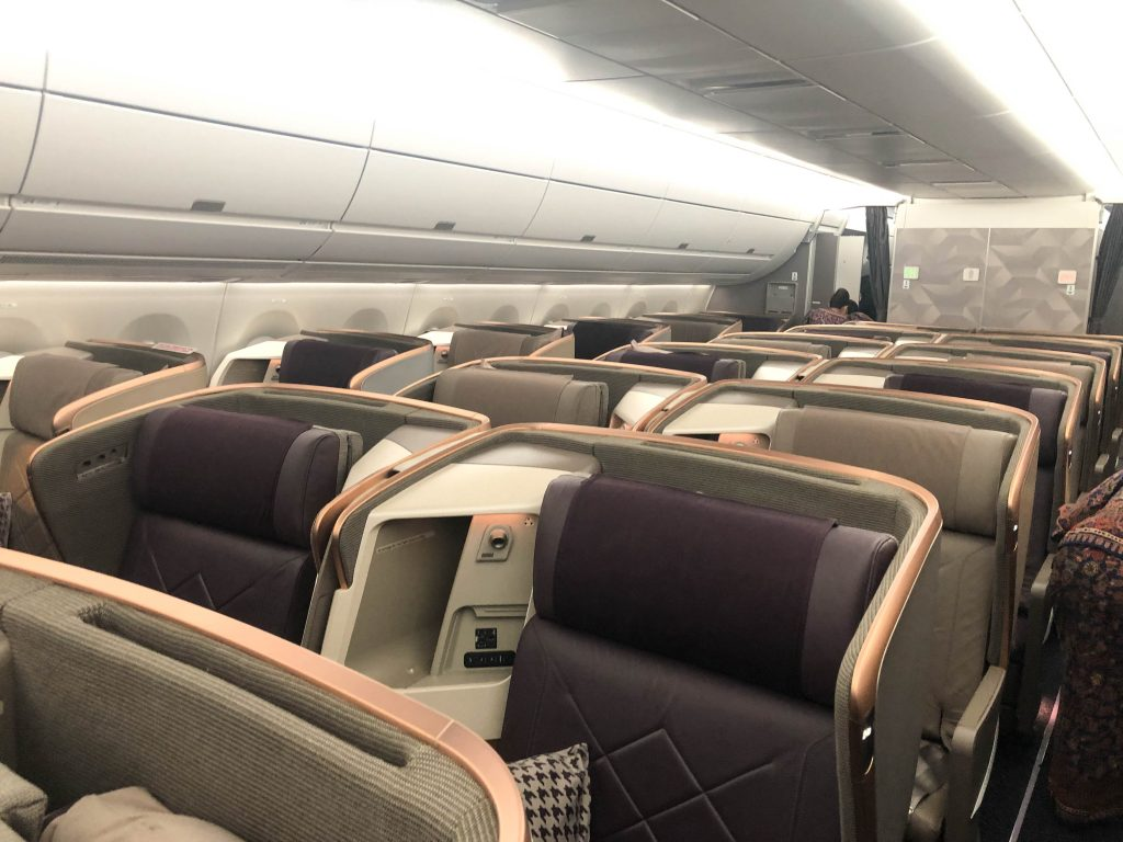 Singapore airlines A350 business cabin