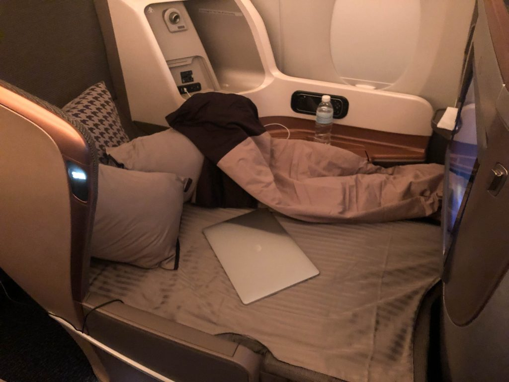 Singapore airlines A350 business class bed