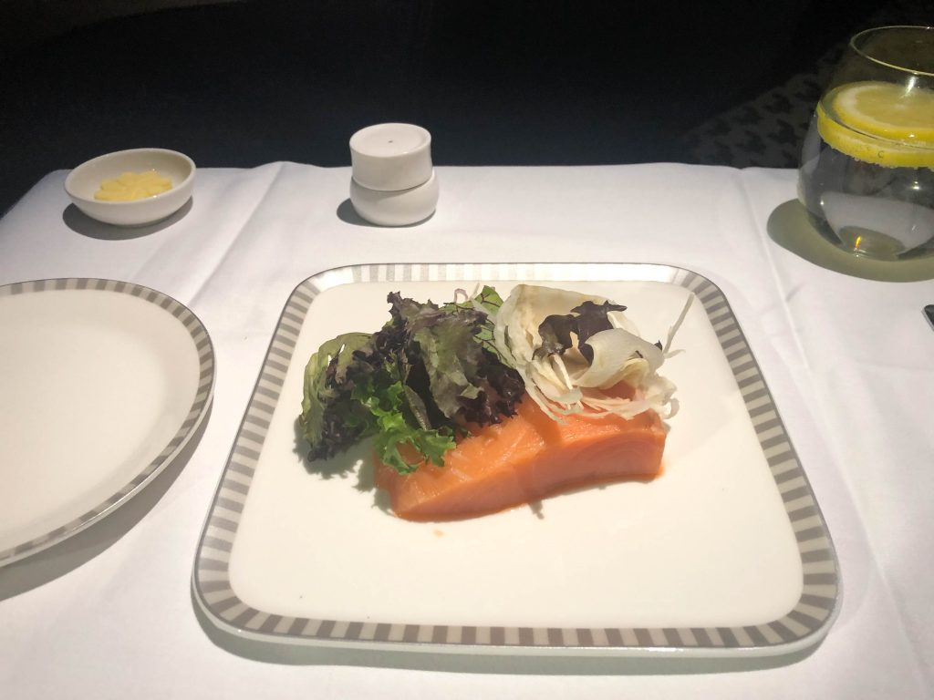 Singapore airlines A350 business class fresh salmon
