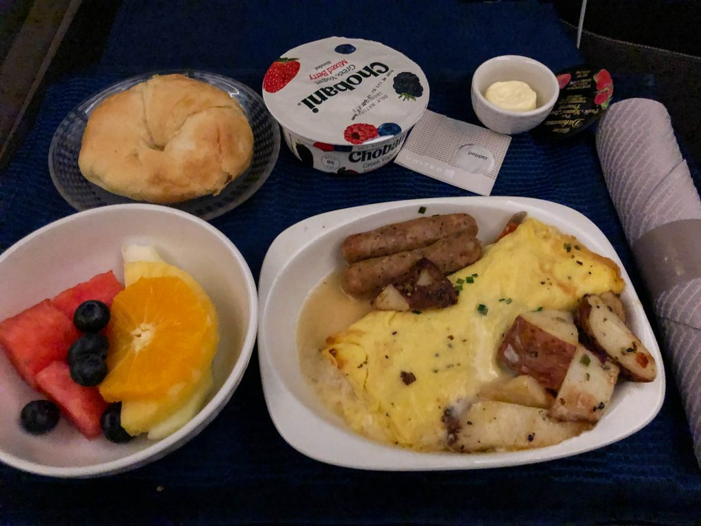United Business Class Breakfast