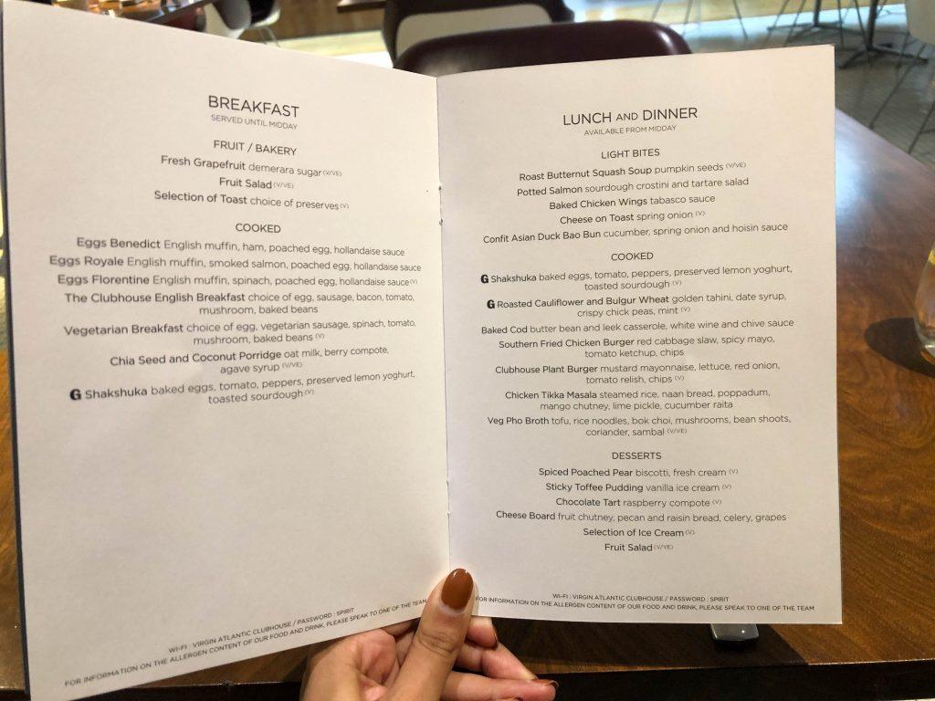 Clubhouse menu