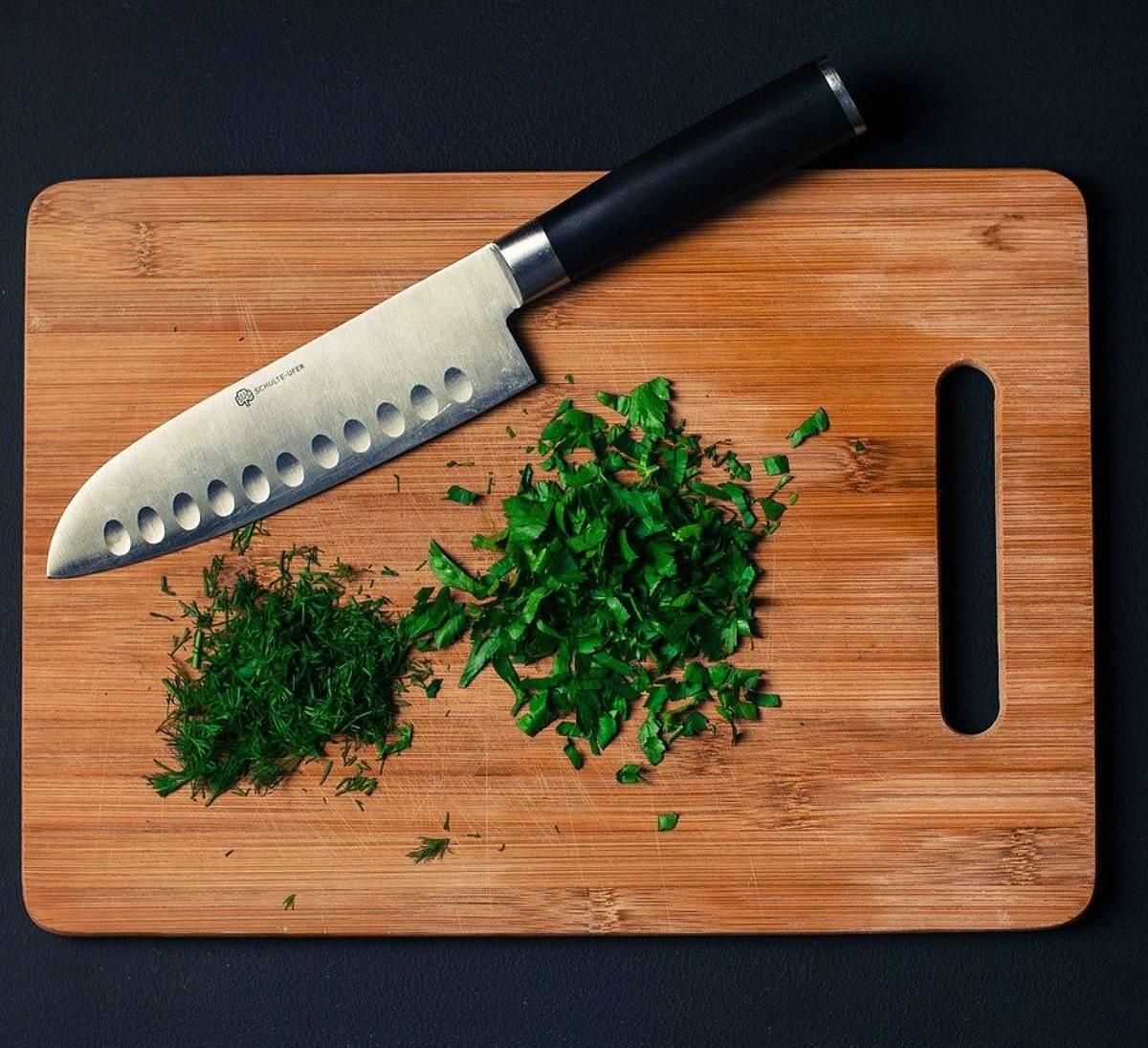 Chefs Knife on Cutting Board